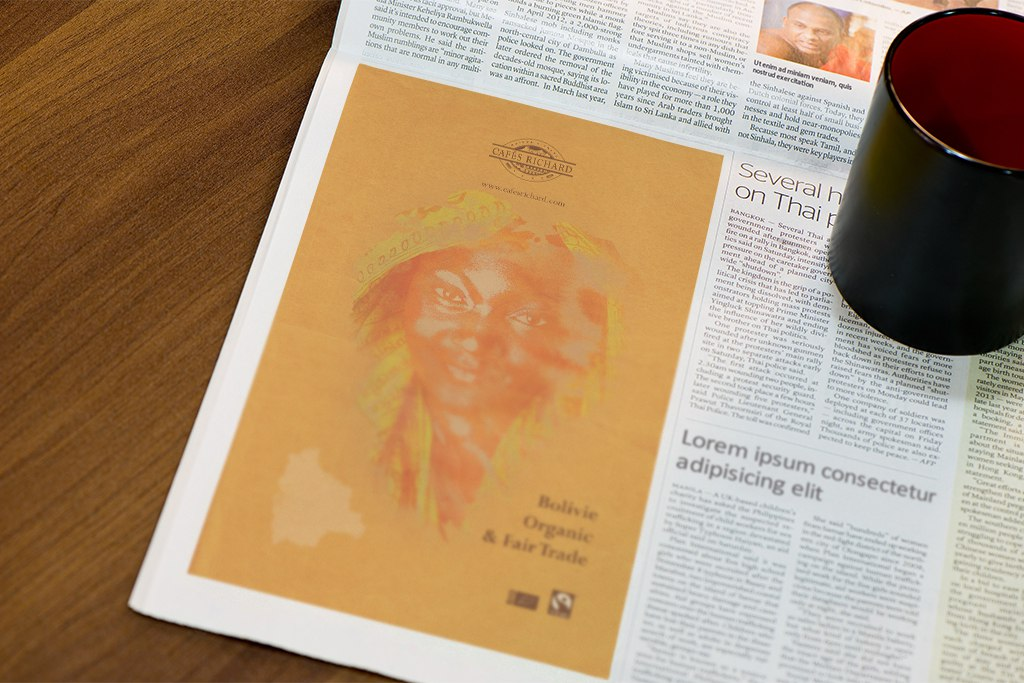 CR Bolivie Organic & Fair Trade Coffee Shop Newspaper Add
